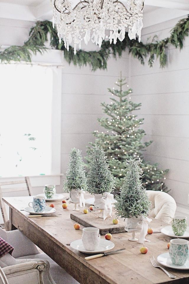 Christmas Greenery on the Dining Room Table