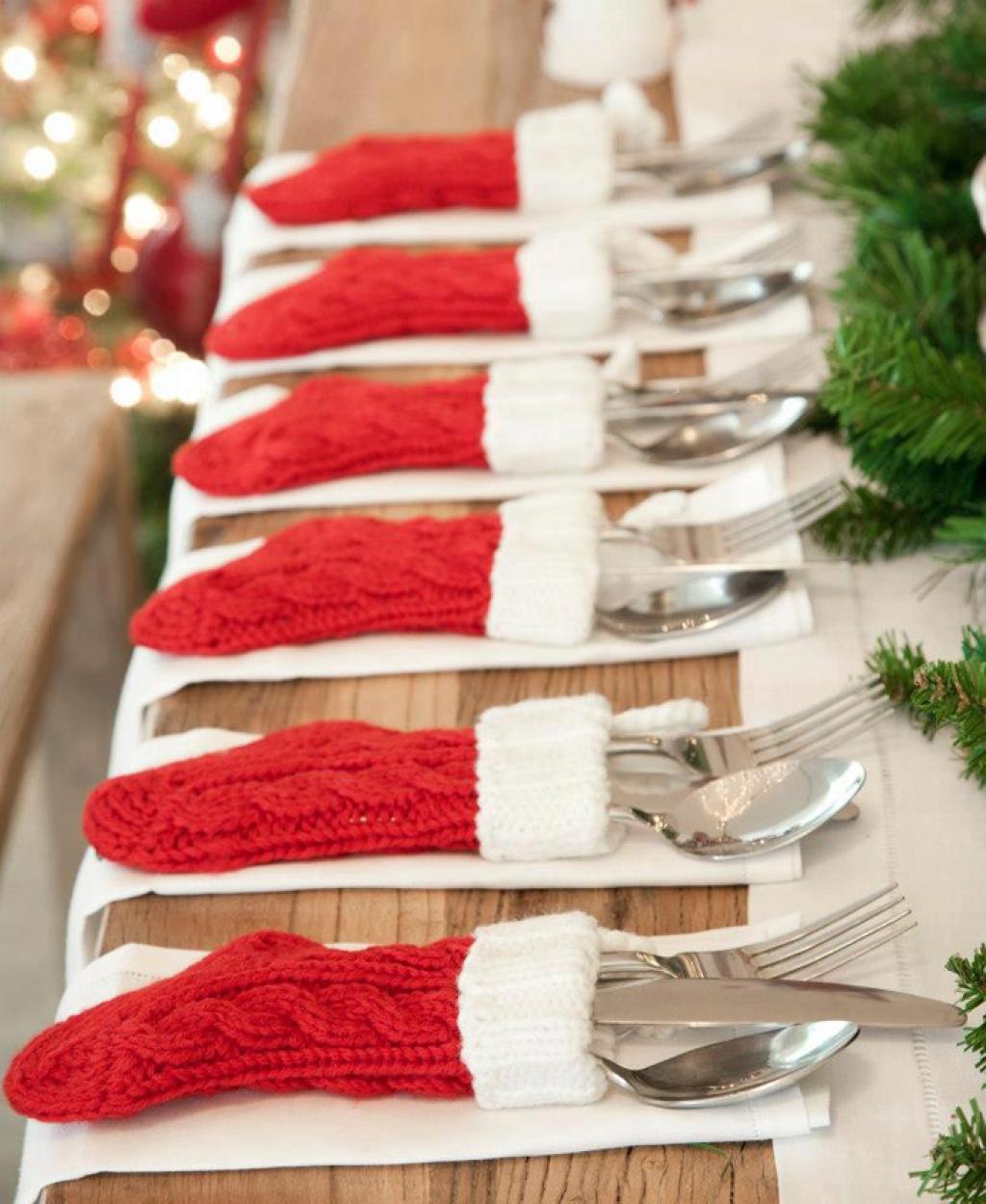 Easy Christmas Decor: Red Stocking Silverware Holders