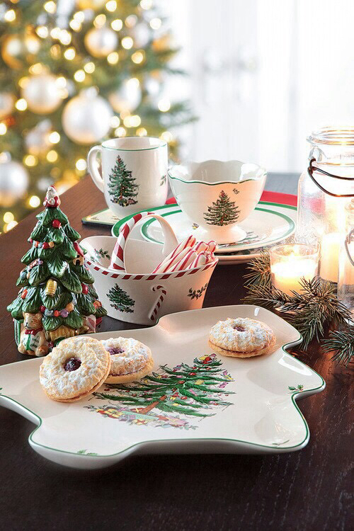 Christmas Tableware and Cookies