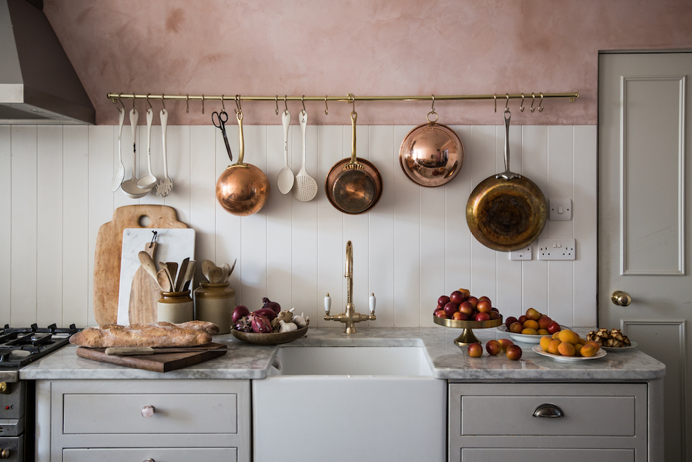 Country Kitchen with rose gold pans