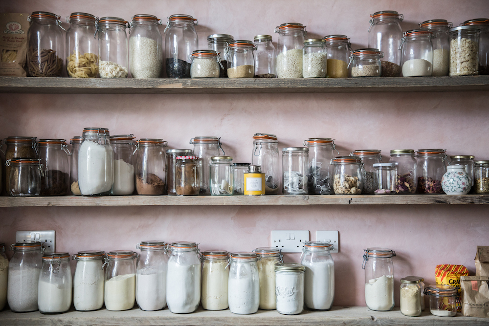 Country Style Mason Jars on Open Shelving