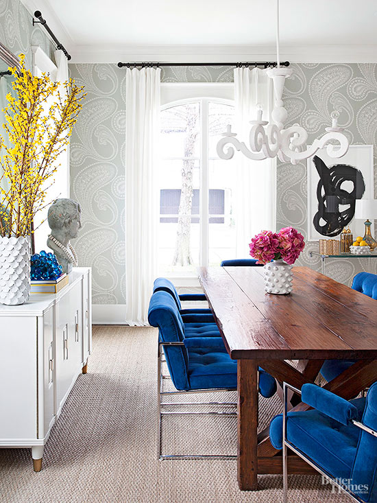 Dining Room with Wood Table and Blue Velvet Chairs
