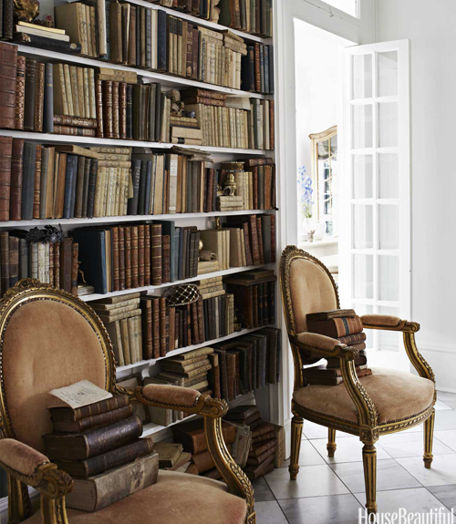 European Vintage Library Bookshelves