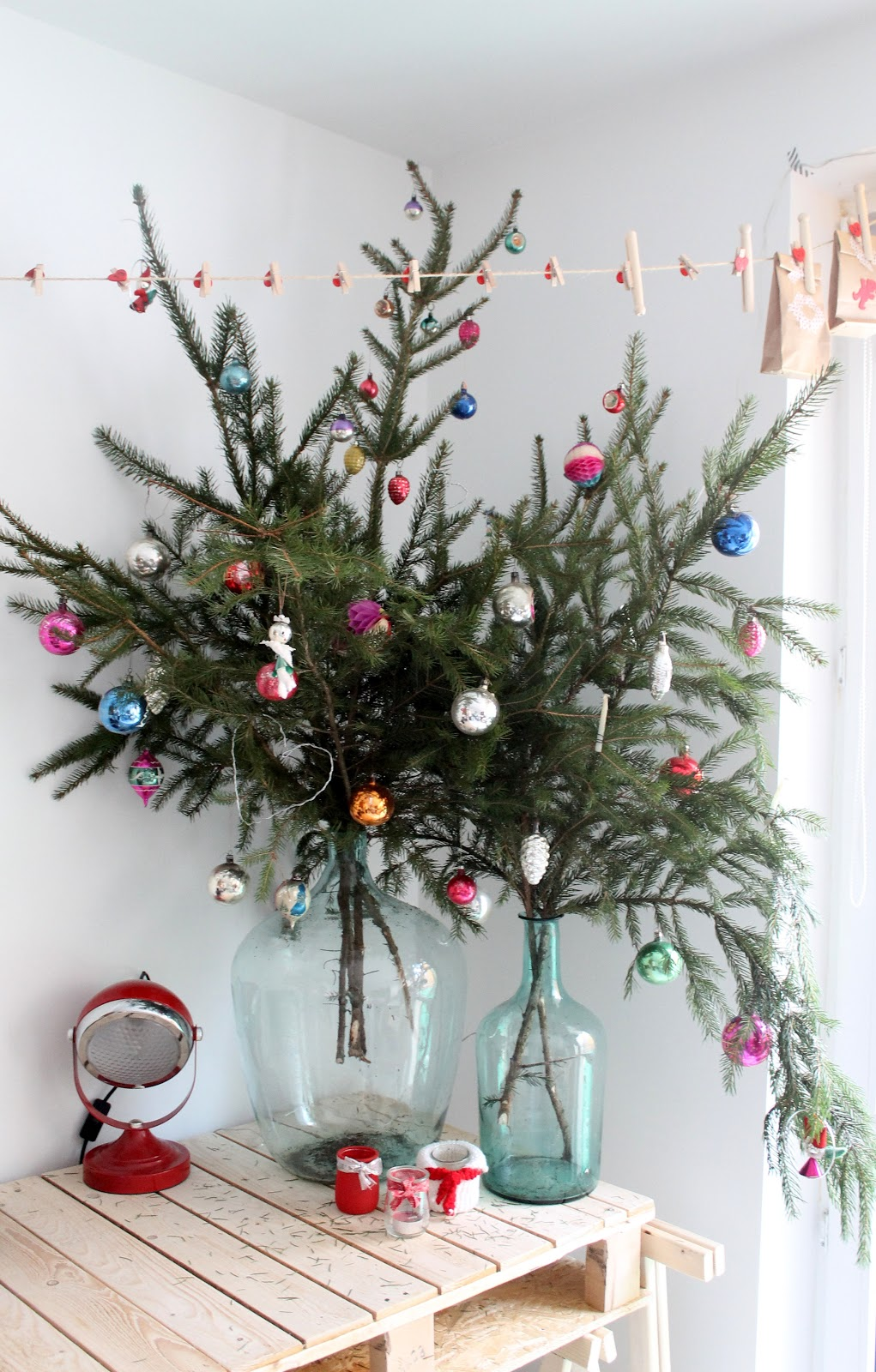 Evergreen Branches in Glass Jars, Easy Christmas Decor Ideas