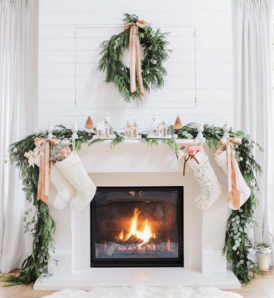 Evergreen Mantel, Easy Christmas Decor