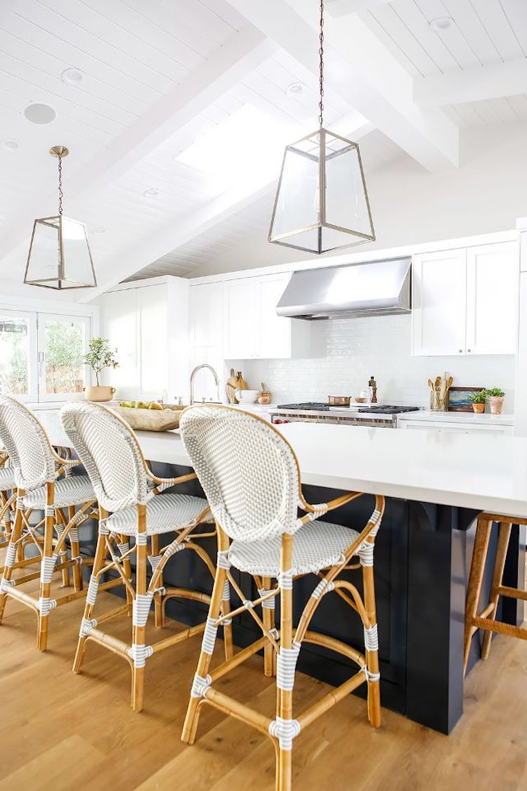 French bistro chairs at kitchen island