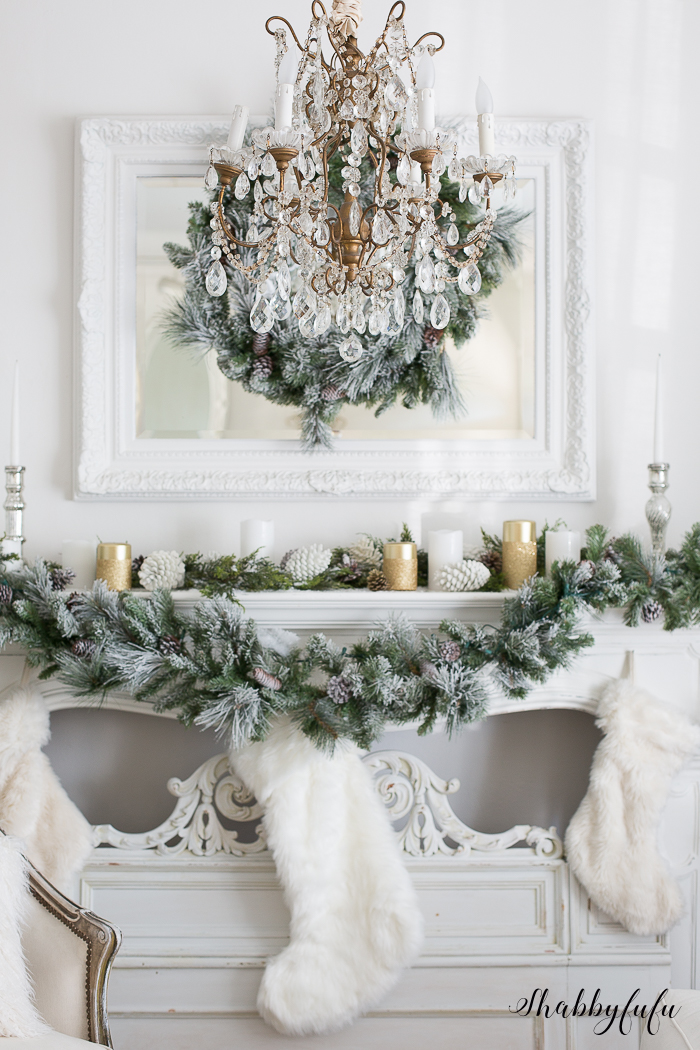 A Glamorous White Christmas Living Room Mantel and Stockings