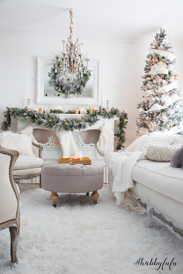 An Elegant, Glamorous White Christmas Living Room in White & Green