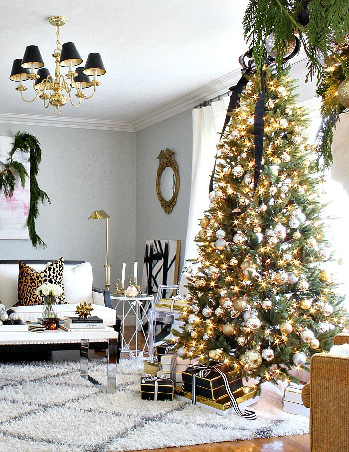 Gold Christmas Tree with Black Bow