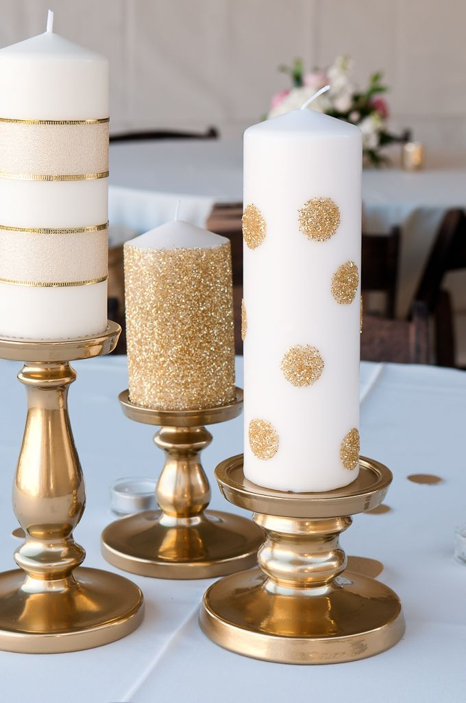 Easy Christmas Decor: Gold Glitter Candles and Stands