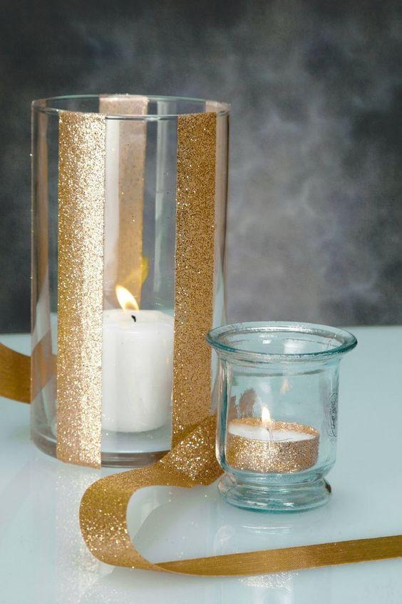 Easy Christmas Decor: Gold Glitter Ribbon Around White Candle