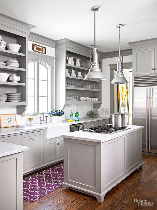 Grey Kitchen with Purple Rug