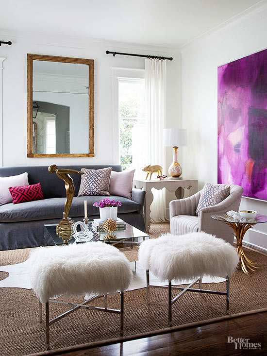 High Style Living Room with Fur Stools