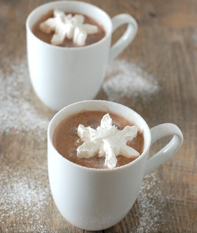 Hot Chocolate with Cool Whip Snowflakes