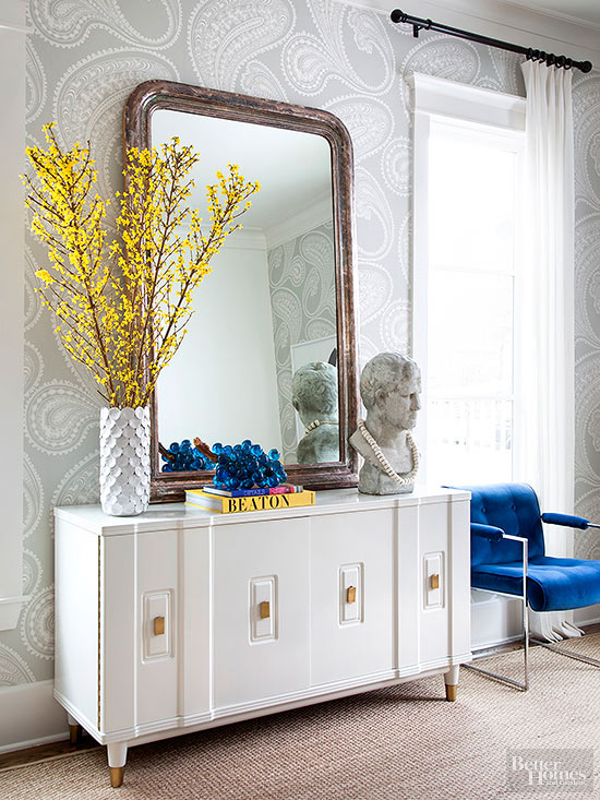 Large Mirror on White Sideboard