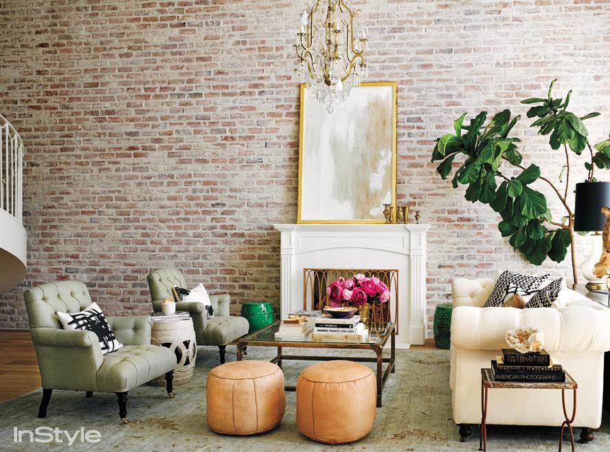 Lauren Conrad's brickwall living room
