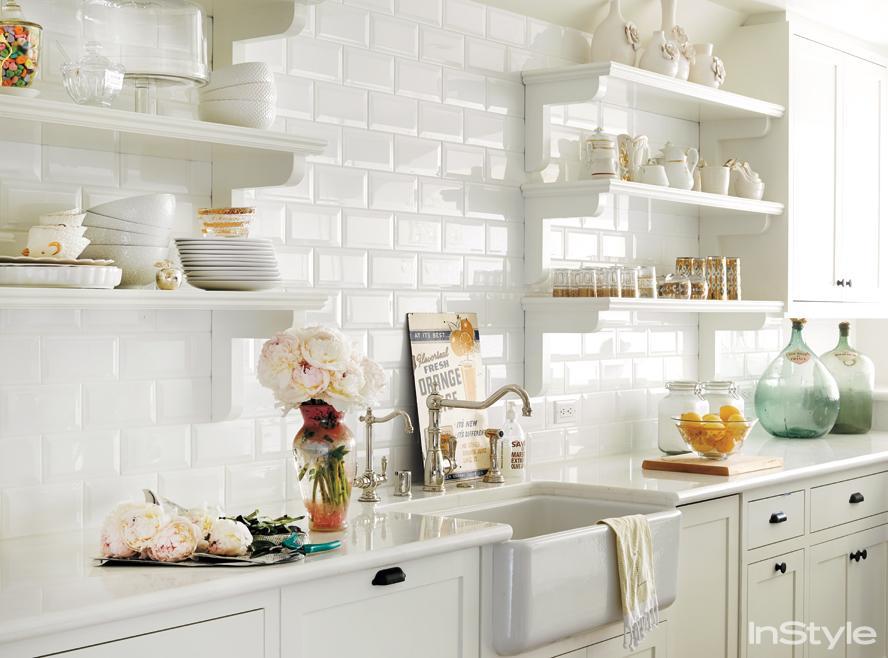 Lauren Conrad's open white kitchen
