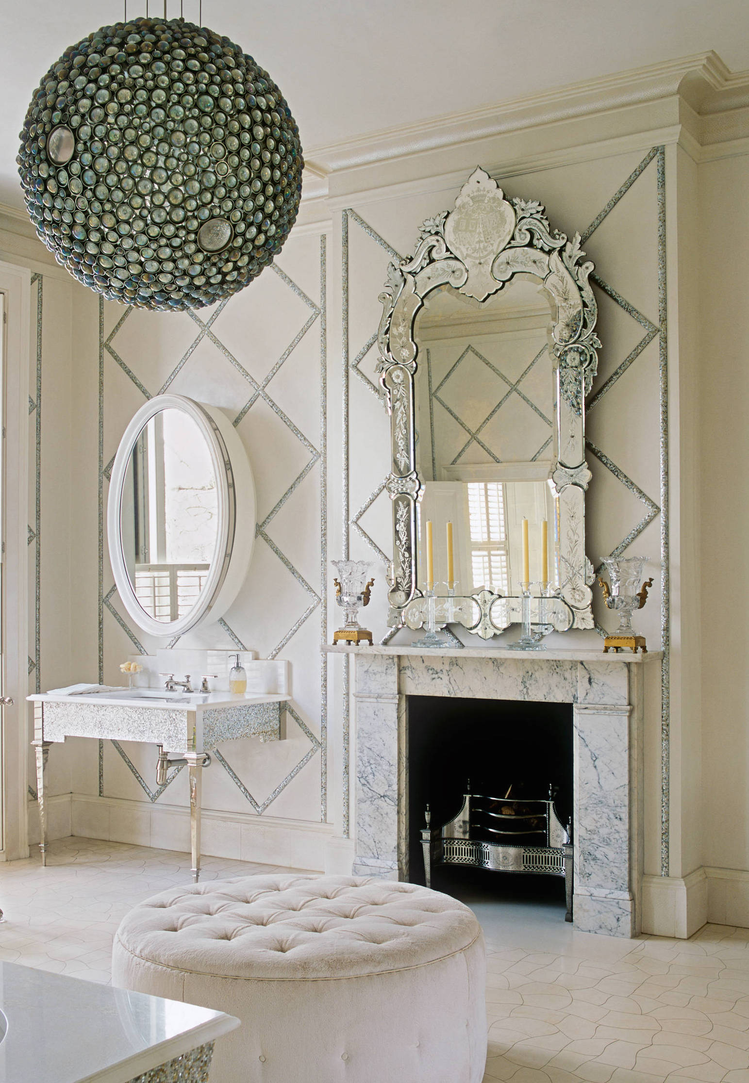 London Bathroom Venetian Mirror via Alidad Ltd & Studio Alidad