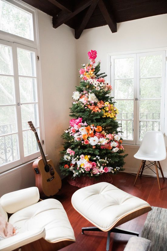 Multi-color Flower Wrap Christmas Tree