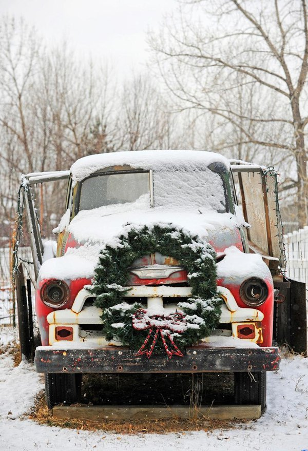 Old Red Car with Christmas Wreath