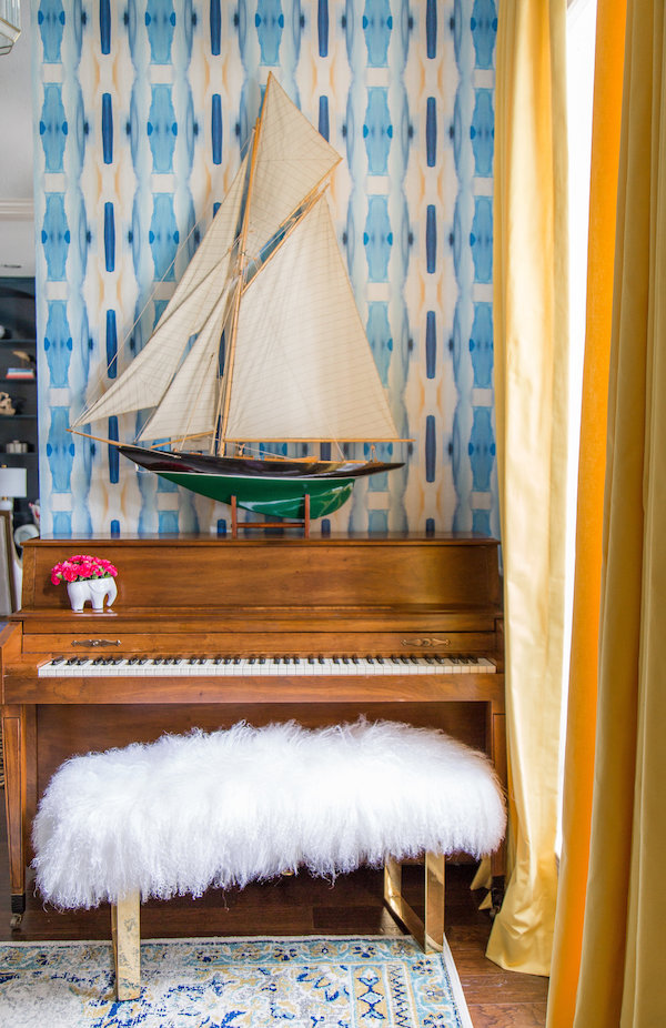 Piano with Sailboat and Fur Bench