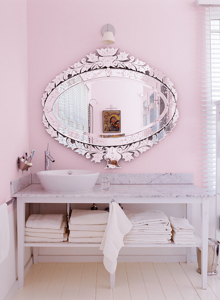 Pink Bathroom via Domino