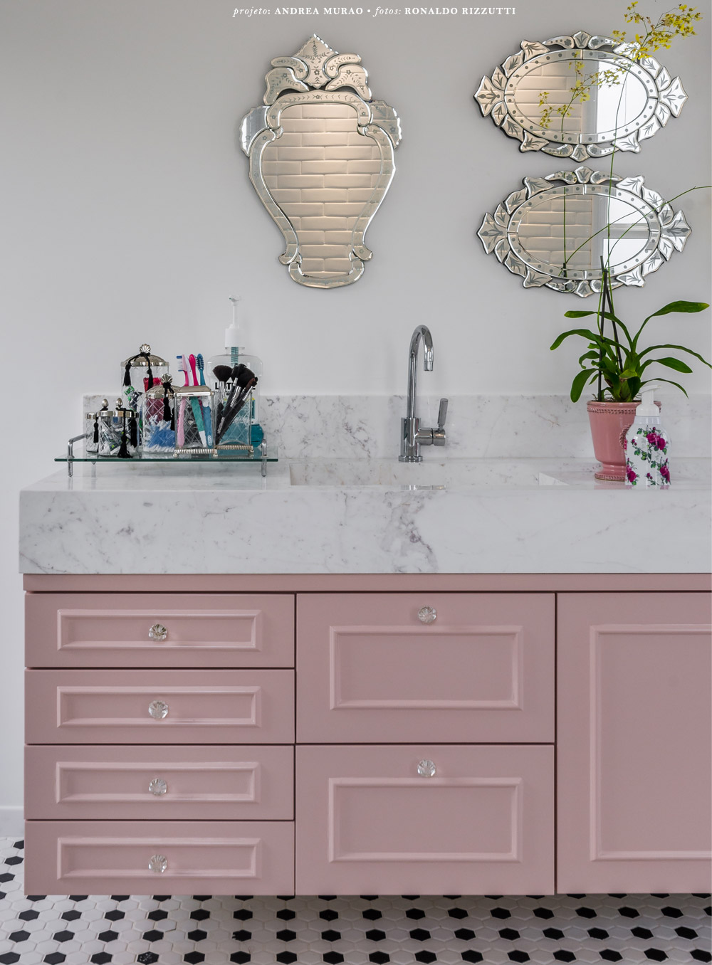 Pink Bathroom with Venetian Mirror