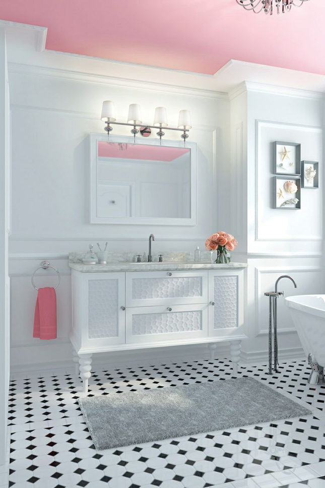 Pink Ceiling in White Bathroom