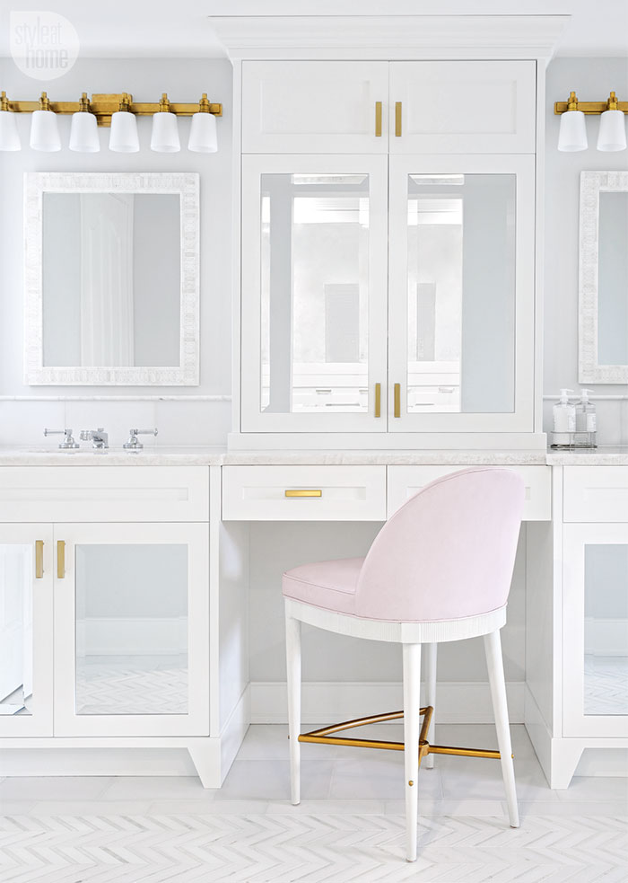 A Feminine & Glamorous Pink and White Bathroom!