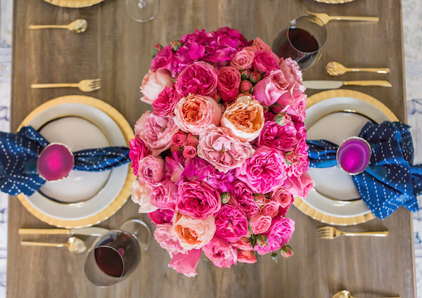 Pink Flowers Gold Plates Placesetting