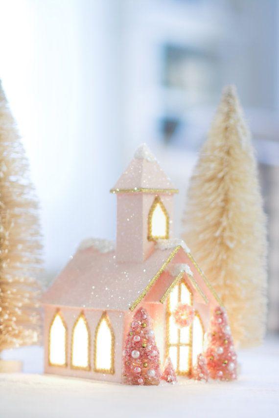 Pink Glitter Christmas Church
