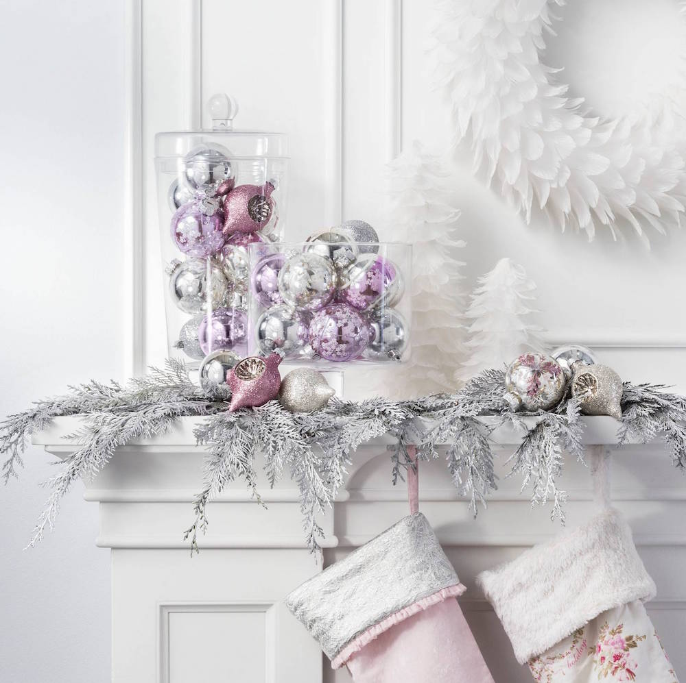 Pink Purple and Silver Ornaments from Target