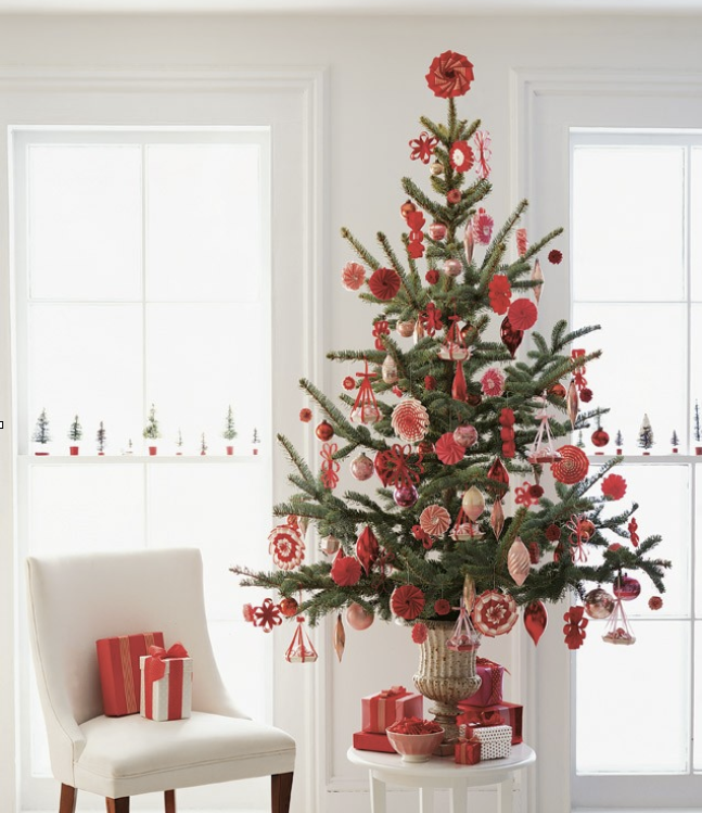 Red Christmas Tree via Martha Stewart