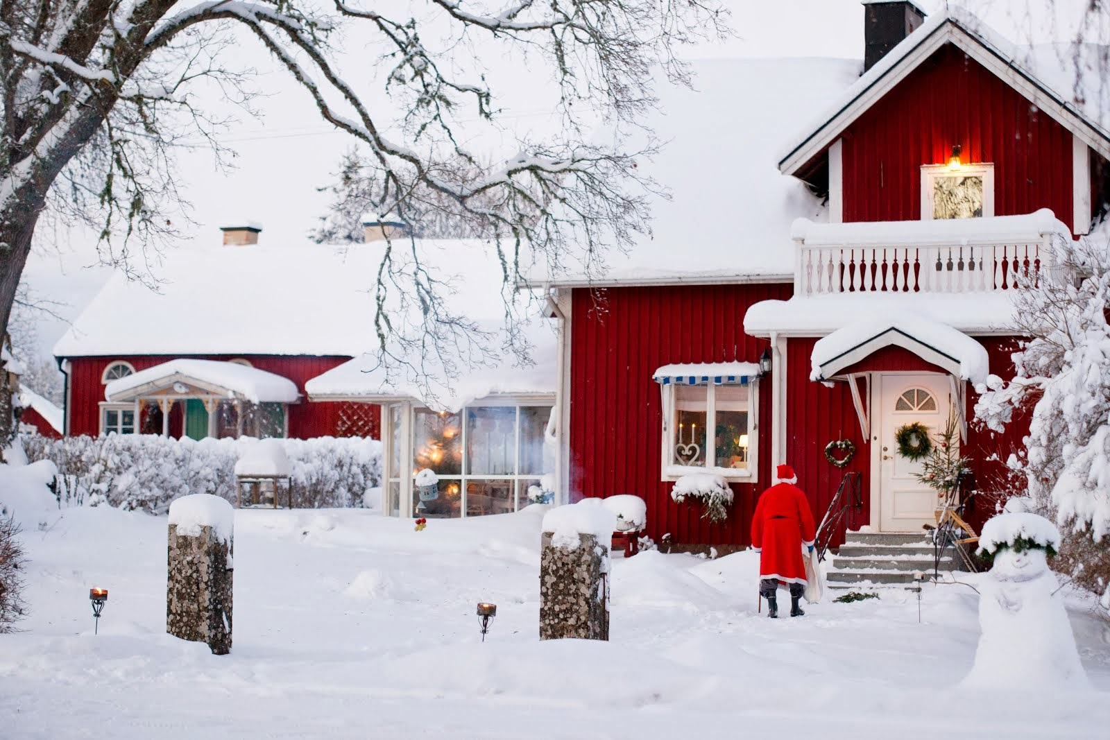 Red House with Snow