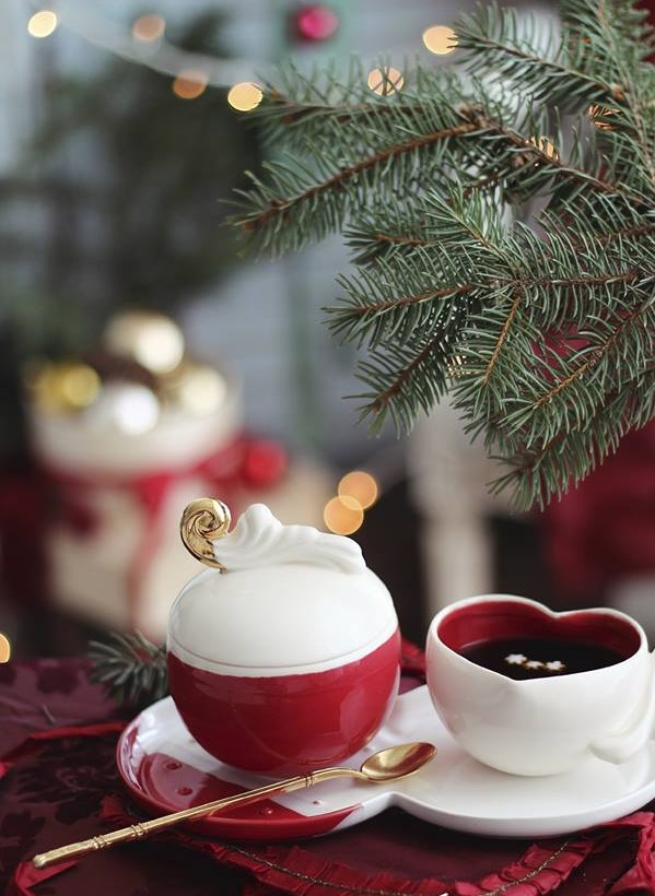 Red and White Christmas Tea Cups