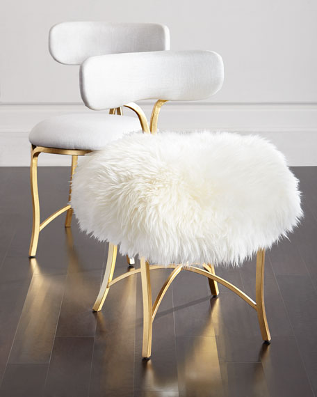 Two Swanson Sheepskin Side Chairs