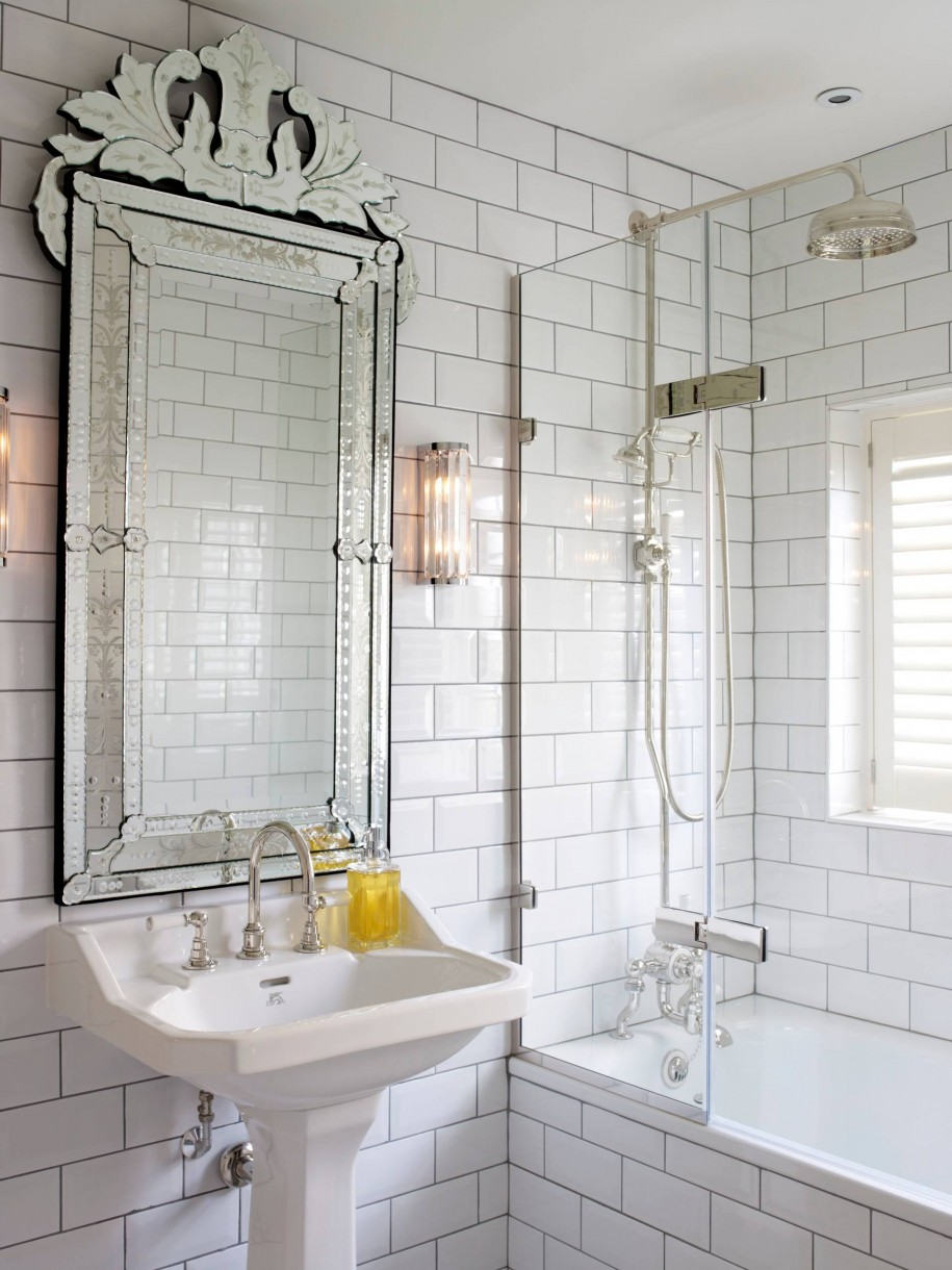 Venetian Mirror Bathroom via Brooks & Falotico