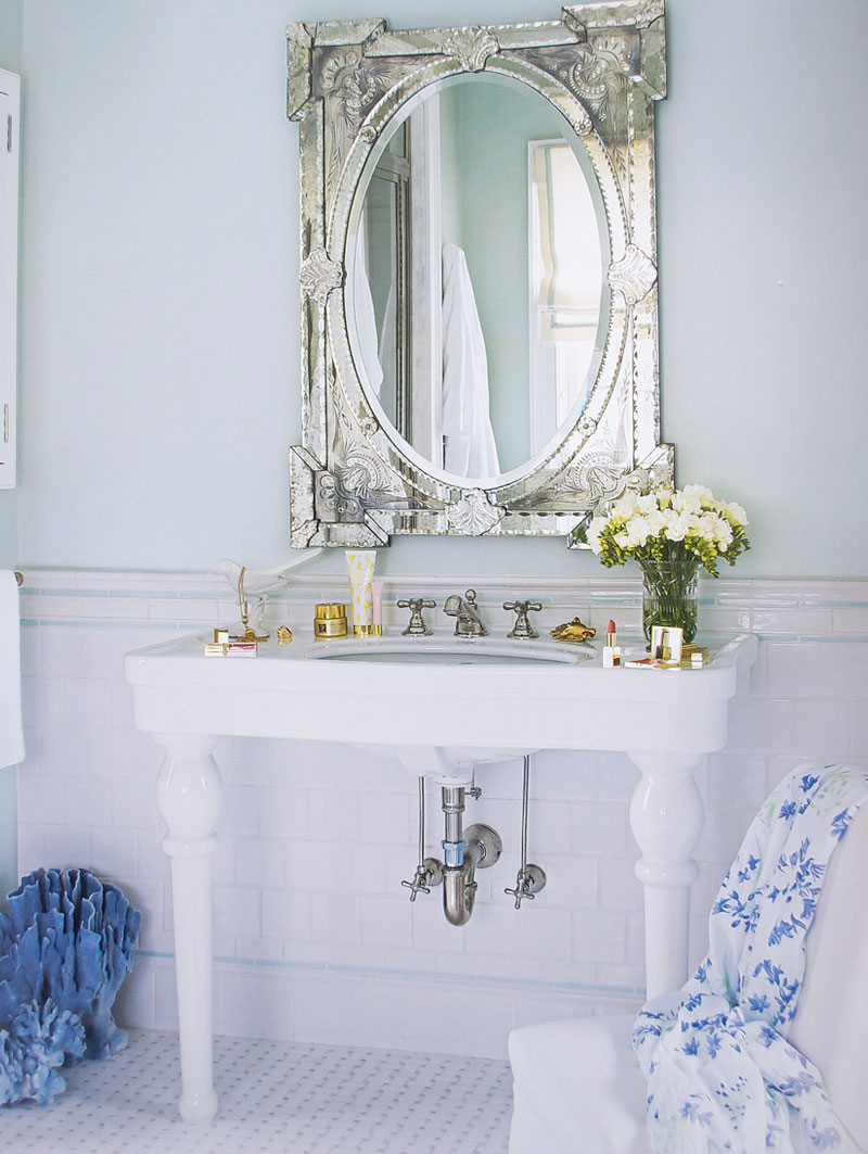Venetian Mirror in Light Blue Bathroom