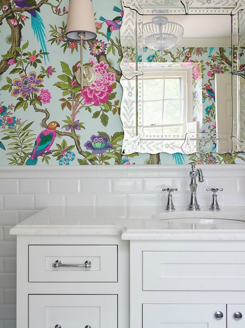 Venetian Mirror with Floral Wallpaper via Shophouse Design