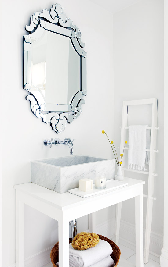 Venetian Mirror with Marble Sink