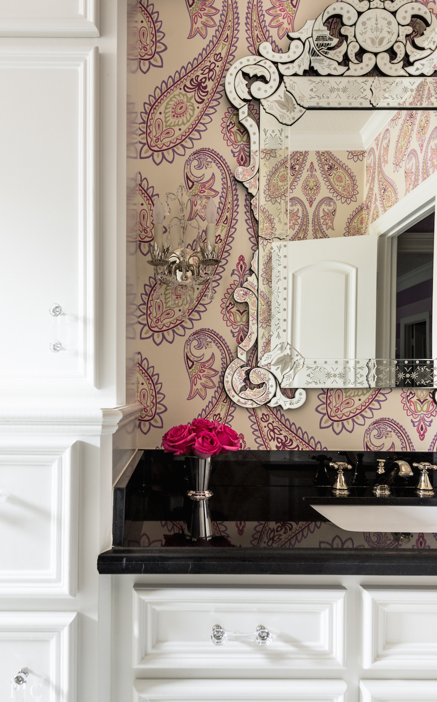 Venetian Mirror with Pink Wallpaper via Paloma Contreras