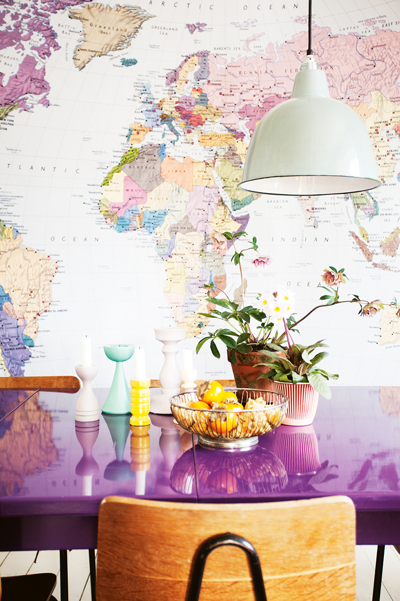 Wall Mural Map with Purple Dining Table