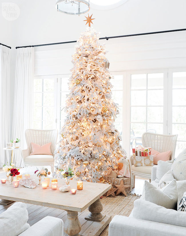 White Christmas Tree via Monika Hibbs - Style at Home