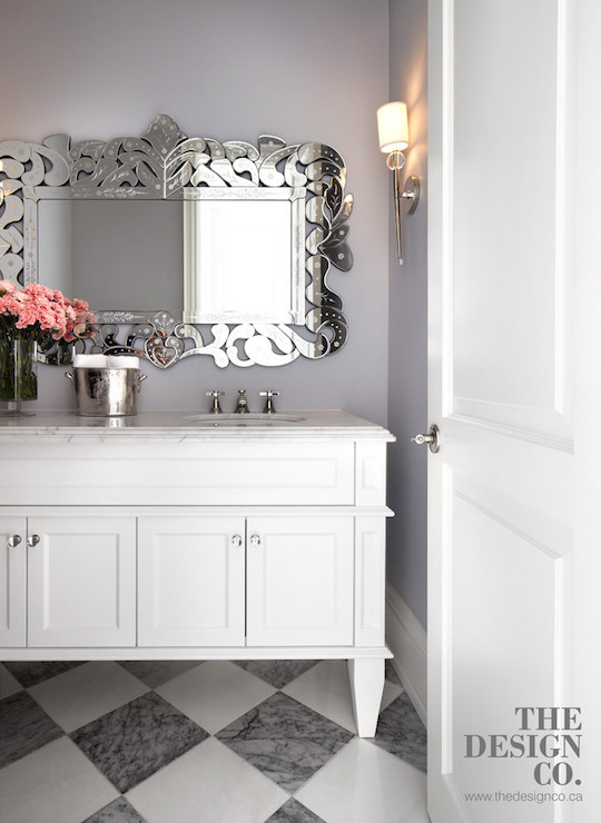White and Grey Bathroom Venetian Mirror via The Design Co