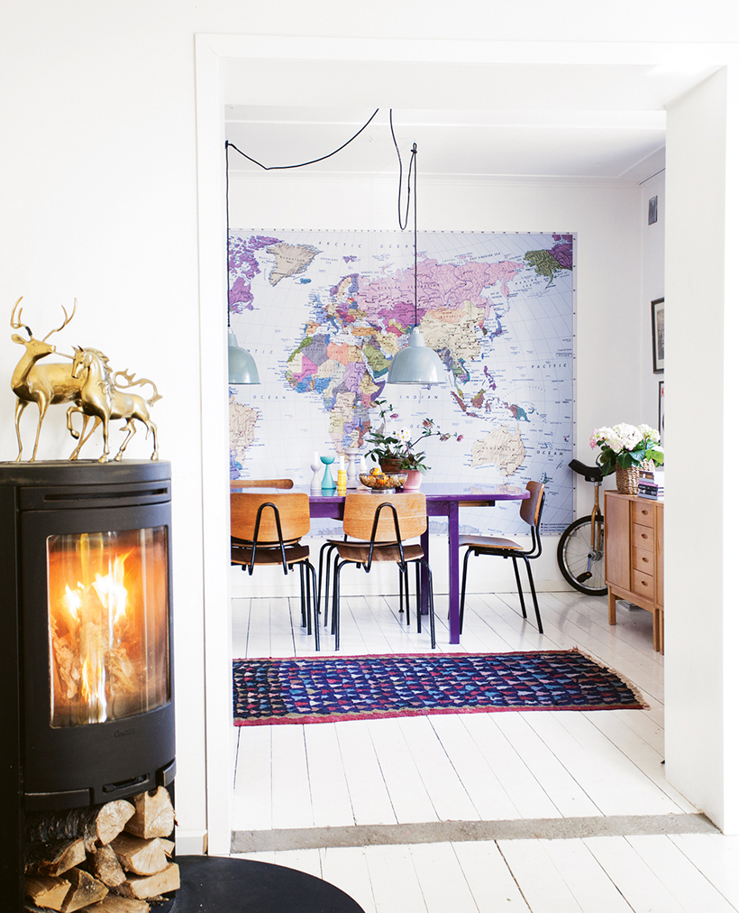 World Map Wall Mural Dining Room