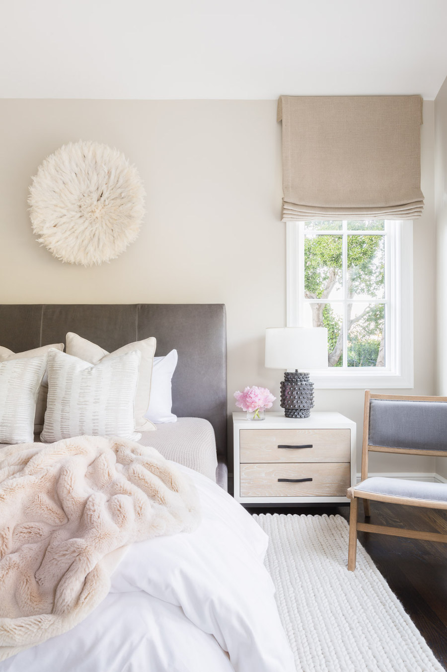 Neutral Bedroom by Amanda BarnesBedroom with Dark Grey Headboard by Amanda Barnes
