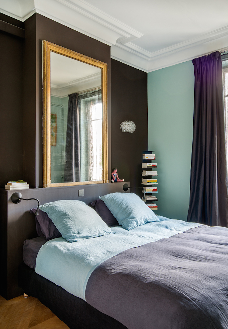 Bedroom with Turquoise and Brown accent walls