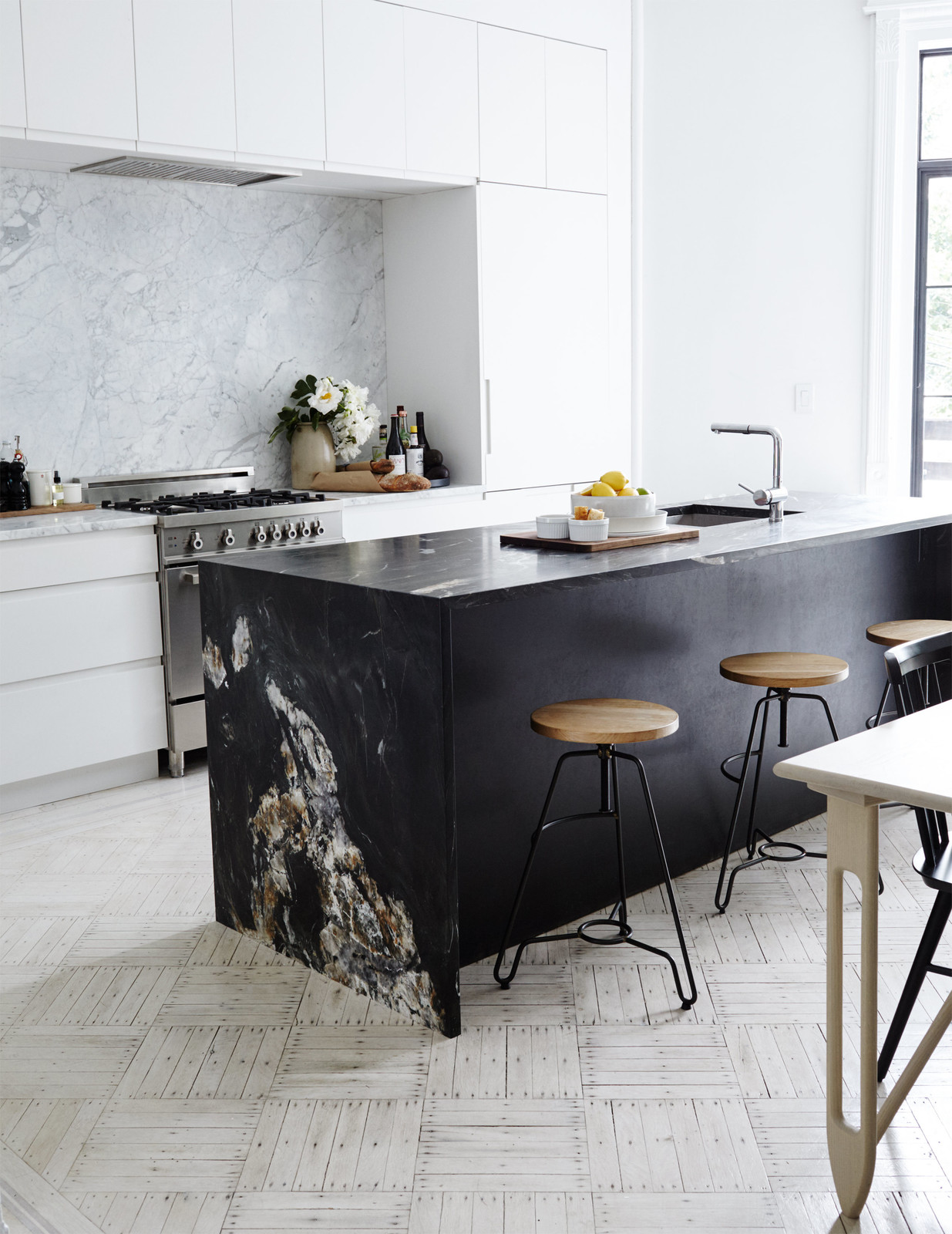 Black Marble Kitchen Island in a Minimal Brooklyn Retreat
