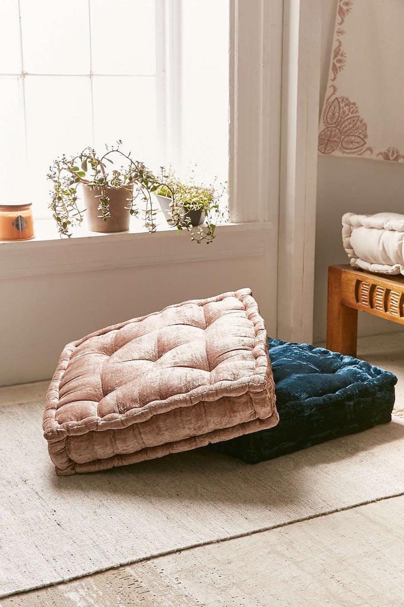 Blush Pink Velvet Floor Pillows