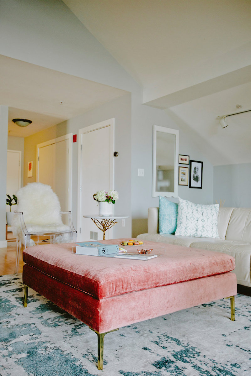 Blush Pink Velvet Ottoman